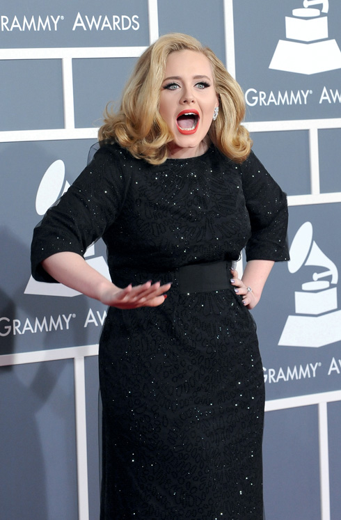 Adele  arrives at the 54th annual Grammy Awards in Los Angeles
