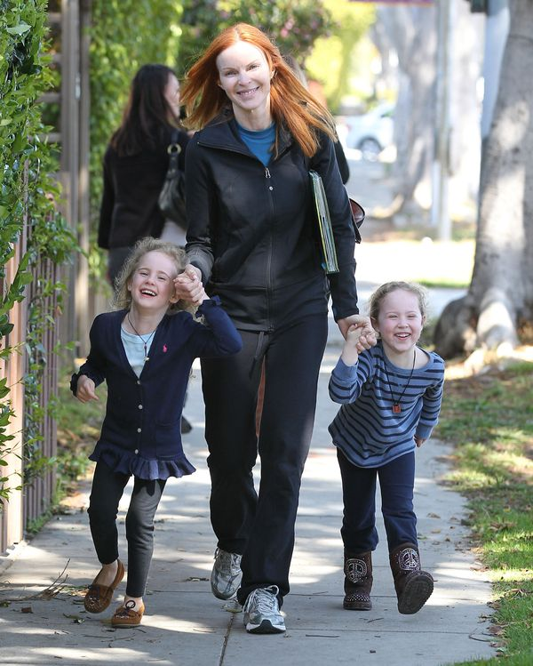 Marcia Cross Picking Up Her Daughters From School