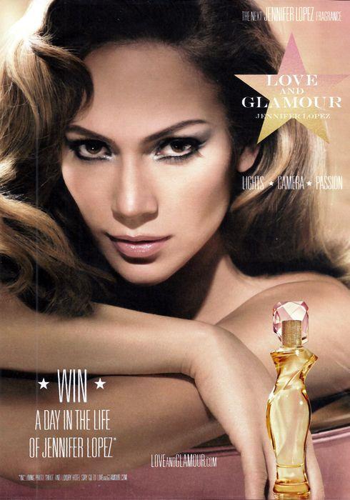 Famosos en anuncios comerciales. Jennifer Lopez anuncia su perfume Love and Glamour.