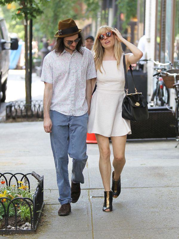 Sienna Miller in a pretty summer dress with fiance Tom Sturridge