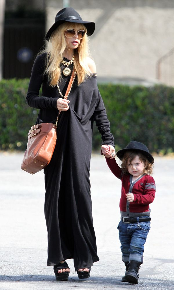 RACHEL ZOE AND HER SON SKYLAR WEAR MATCHING HATS IN LA