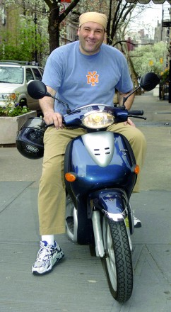 James Gandolfini riding Vespa Scooter in Greenwich Village
