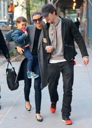Miranda Kerr And Orlando Bloom Take Flynn For A Walk