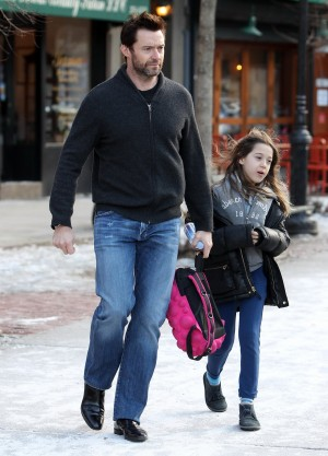Australian actor Hugh Jackman picks up his daughter AVA from the school in The West Village, New York, NY on February 27, 2014. Photo by Charles Guerin-Morgan Dessalles/ABACAUSA.COM