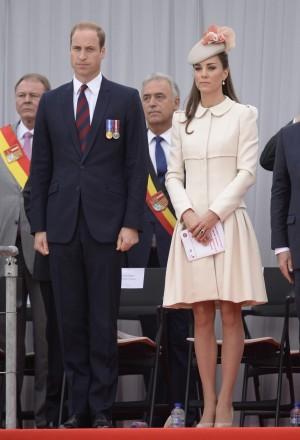 Le prince William, le duc de Cambridge et Catherine Kate Middleton, la duchesse de Cambridge lors de la cérémonie de commémoration du centenaire de la première guerre mondiale au Mémorial Interallié de Cointre à Liège en Belgique, le 4 août 2014. World War 1 100 Years Commemoration Ceremony at Le Memorial Interallie in Liege, Belgium, on August 4, 2014.