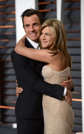 JENNIFER ANISTON + JUSTIN THEROUX @ the 2015 Vanity Fair Oscar viewing party held @ the Wallis Annenberg Center for the Performing Arts. February 22, 2015