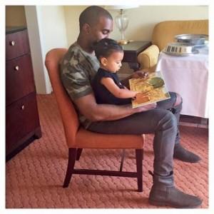 Kanye, alături de fiica lui North.