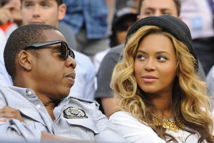 Jay-Z and Beyonce Knowles watch Serbia's Novak Djokovic in action against Spain's Rafael Nadal during Day 15 at the US Open, at Flushing Meadows, New York City, NY, USA, September 12, 2011. Photo by Corinne Dubreuil/ABACAPRESS.COM  | 289359_020 New York City Etats-Unis United States