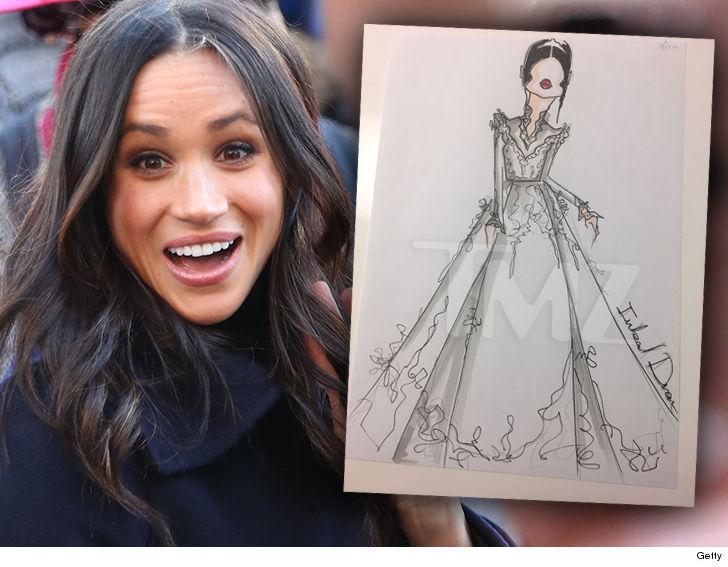 Propunerea designerului Inbal Dror pentru rochia de mireasă a lui Meghan Markle.