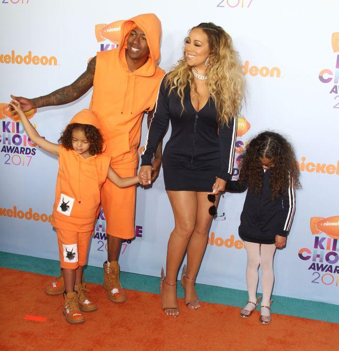 Mariah Carey, Nick Cannon și cei doi copii gemeni ai lor, Moroccan și Monroe,în 2017.