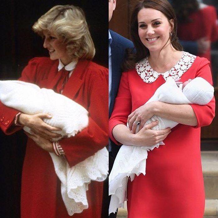 Kate Middleton a purtat o rochie roșie, la fel ca Prnțesa diana, când l-a prezentat lumii pe Prințul Louis.