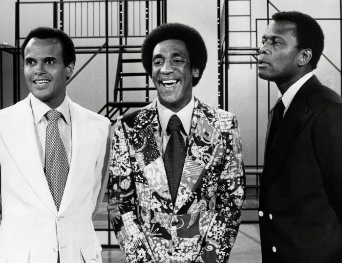 "Bill Cosby, alături de Harry Belafonte și Sidney Poitiers, în ""The New Bill Cosby Show"", 1972"