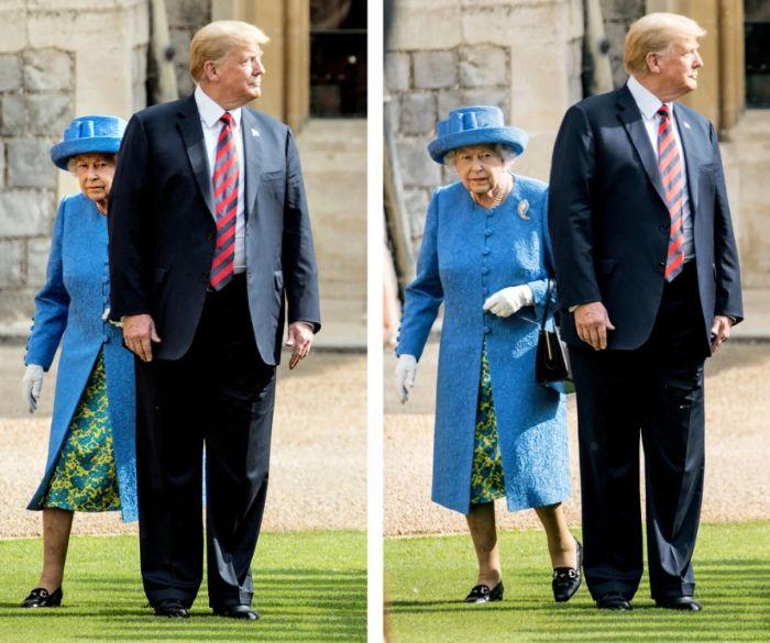 Donald Trump a mers înaintea Reginei Elizabeth II pe pajistea Castelului Windsor