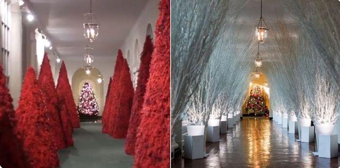 Anul acesta, de Crăciun, Melania Trump a îngrozit pe toată lumea cu brazii ei roșii...