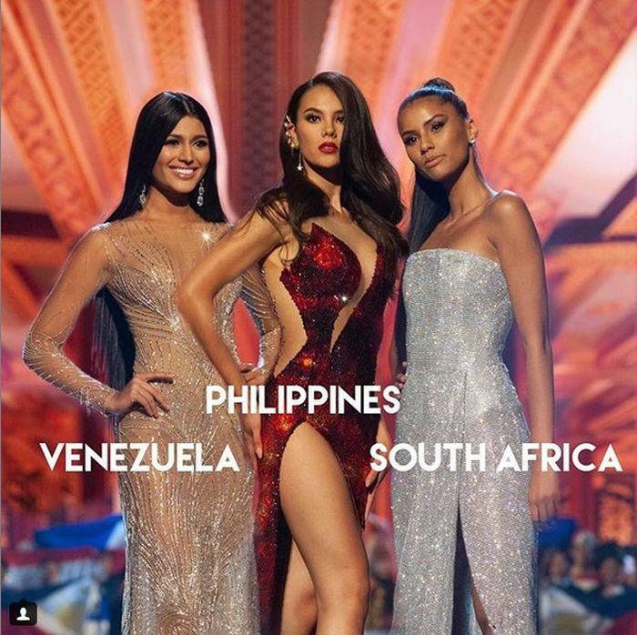 Cele trei care și-au disputat primul loc la Miss Univers.
