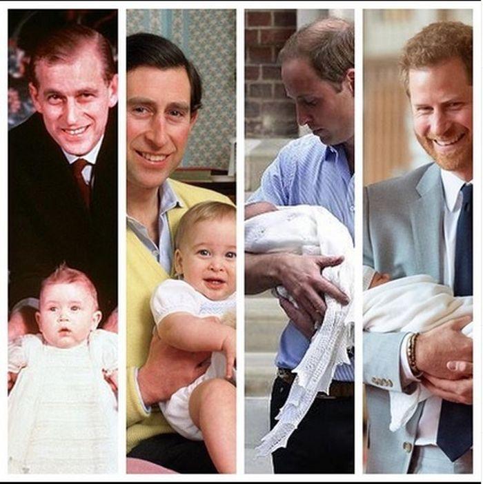 Trei generații: Prințul Philip, fiul său Charles și cei doi băieți ai lui, la prima experiență de părinte.