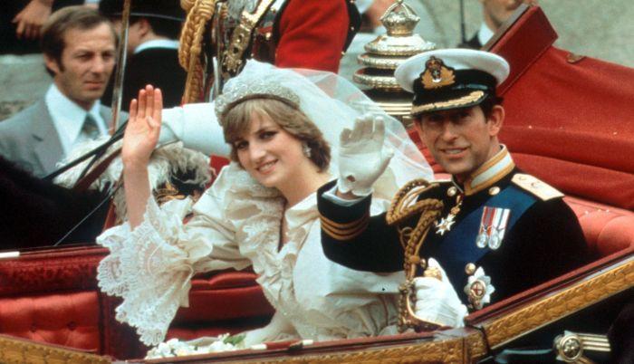 Prințesa Diana și prințul Charles în ziua nunții