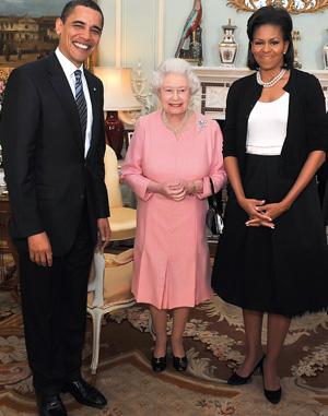 Barack Obama, Michelle Obama, regina Elisabeta a II-a