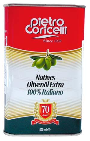 Uleiul de masline extra virgin Pietro Coricelli in cutie metalica