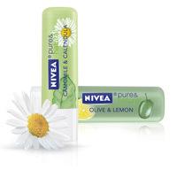 Balsam de buze NIVEA pure & natural Olive & Lemon sau Camomille & Calendula