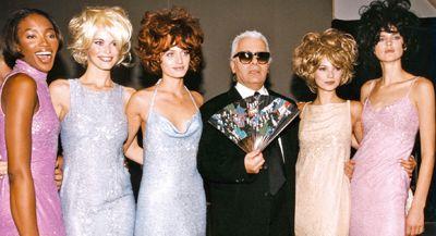 Karl Lagerfeld, Naomi Campbell, Claudia Schiffer, Amber Valetta, Kate Moss, Stella Tennant.
